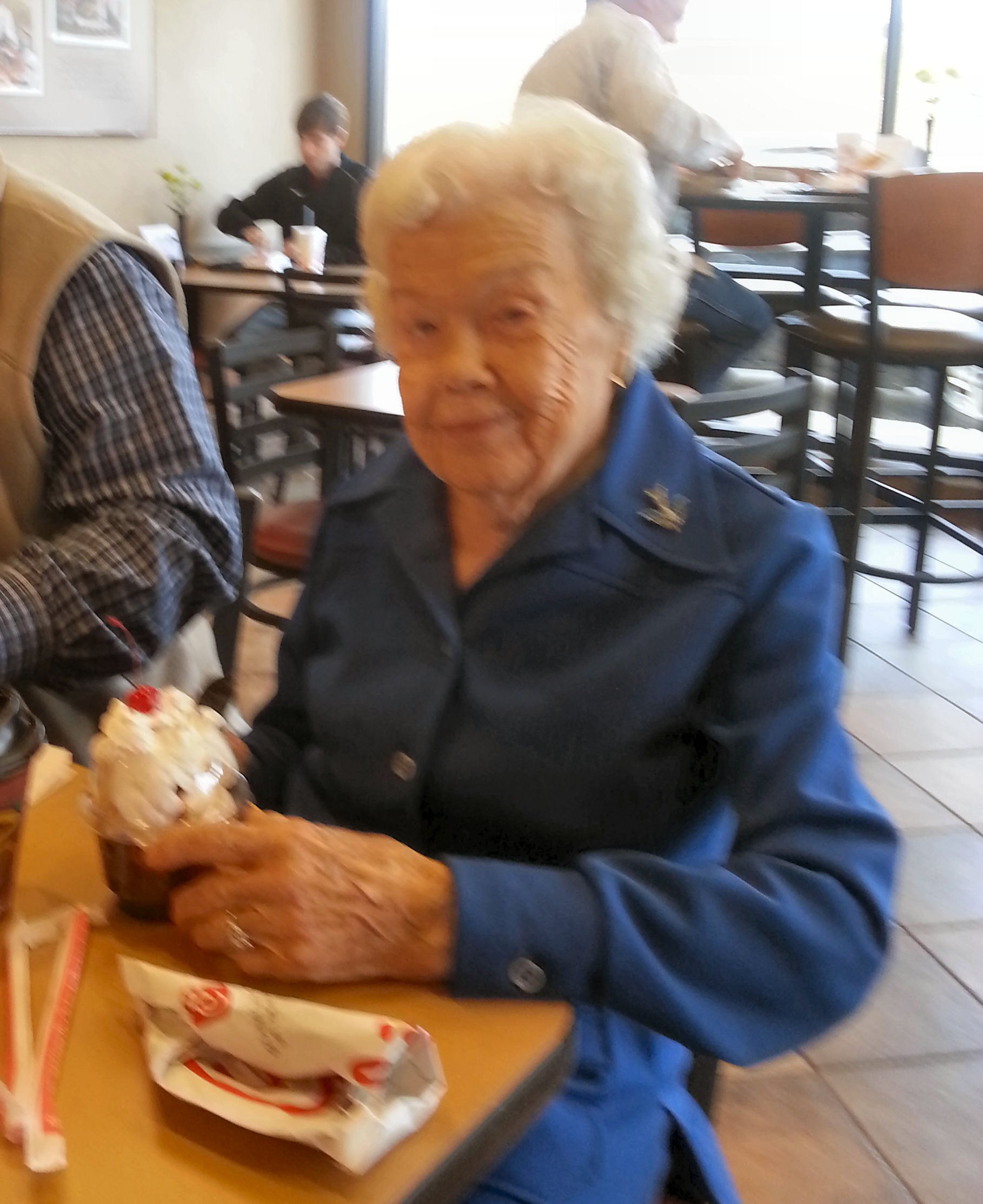 "Oldest member of Tuesday's Ladies class.  ""Miss Ruth"" will be 104 years old in February 2013."